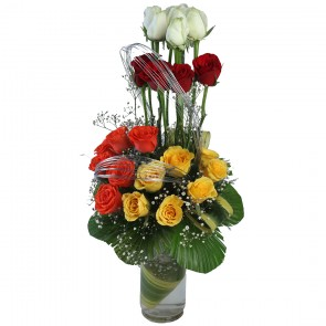 24 Mix Roses in Glass Vase