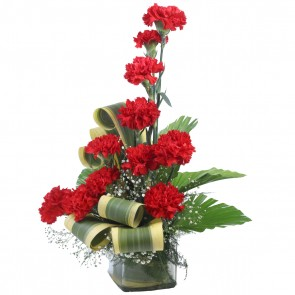 12 Red Carnations in Medium Vase