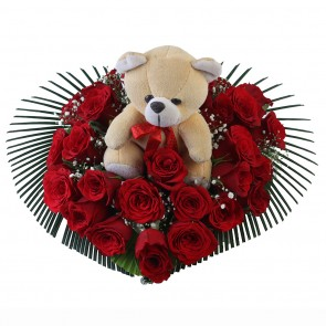 Heart Shape Arrangement of 25 Red Roses