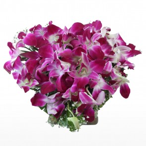Heart Shape Arrangement - 20 Purple Orchids
