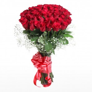 Hand Tied Buch of 50 Red Roses