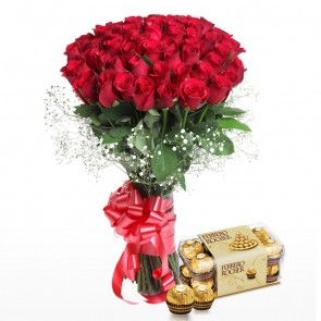 Hand Tied Buch Of 50 Red Roses With Chocolates