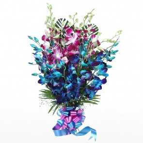 15 Orchids Bunch - Blue and Pink