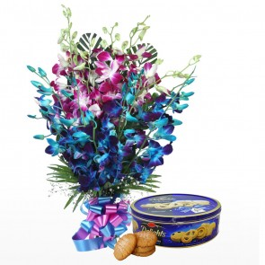 15 Orchids Bunch - Blue And Pink With Chocolates