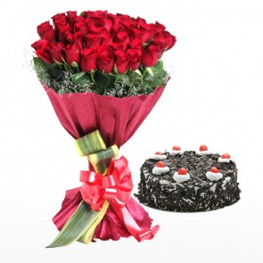 Bouquet Of 40 Red Roses With Cake