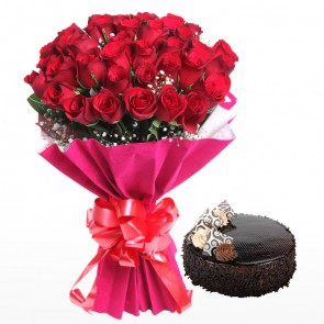 Bouquet Of 3 Dozen Red Roses With Cake