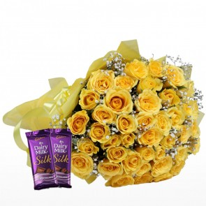 Bouquet of 40 Yellow Roses With Chocolates