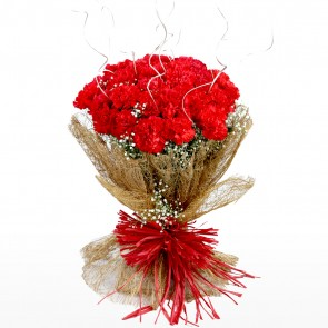 Bouquet of 24 red carnations