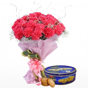 Bouquet of 24 Pink Carnations With Chocolates