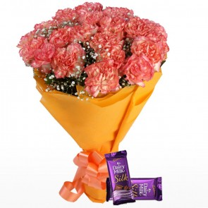 Bouquet of 24 Orange Carnations With Chocolates