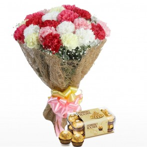 Bouquet of 24 Mix Carnations With Chocolates
