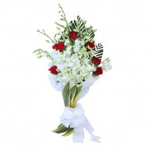 14 Mix Flowers - 8 Orchids and 6 Roses Bouquet