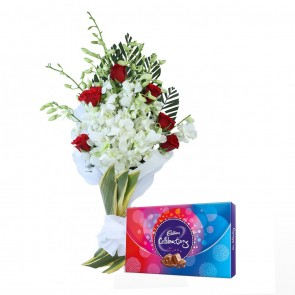 14 Mix Flowers - 8 Orchids And 6 Roses Bouquet With Chocolates