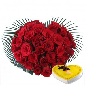 Heart Shape Arrangement Of 40 Red Roses With Hear Shape Cake