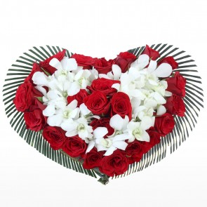 Heart Shape Arrangement - 25 Red Roses and 10 Orchids