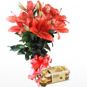 Hand Tied Bunch of 6 Pink Lilies With Chocolates