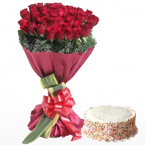 Bouquet Of 50 Red Roses With Cake