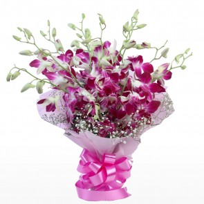 Bouquet of 15 Pink Orchids in Paper