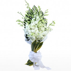 Bouquet of 15 White Orchids