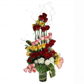 5 Dozen Mix Roses in Glass Vase