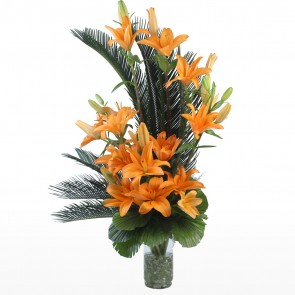 10 Orange Lilies in Long Vase