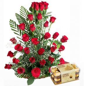 35 Red Roses Premium Basket Arrangement With Chocolates