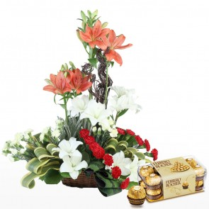 Exclusive Basket Arrangement of Flowers With Chocolates