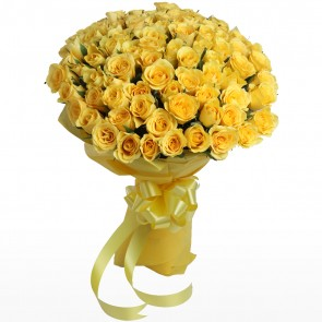 Bouquet of 100 Yellow Roses