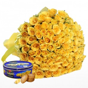 Bouquet of 100 Yellow Roses With Chocolates
