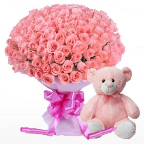 100 Pink Roses Bunch With Teddy Bear