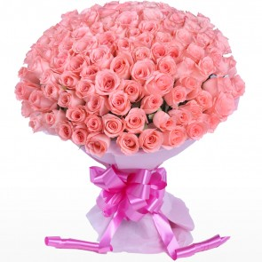 Bouquet of 100 Pink Roses