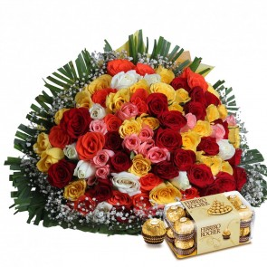 Bouquet of 100 Mix Roses With Chocolates