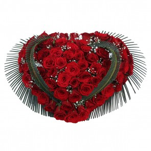 Heart Shape Arrangement of 100 Red Roses
