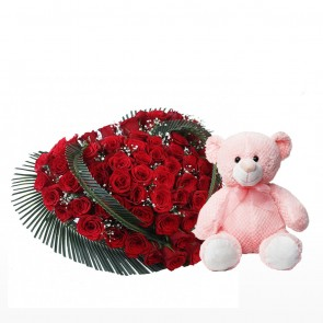 Heart Shape Arrangement Of 100 Red Roses With Teddy