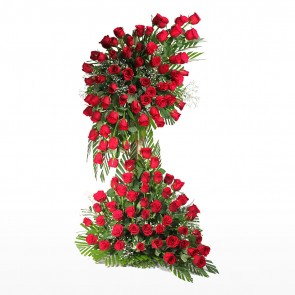 Life Size Arrangement of 100 Red Roses