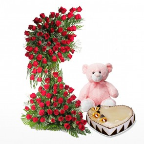 Life Size Arrangement Of 100 Red Roses With Cake And Teddy Bear