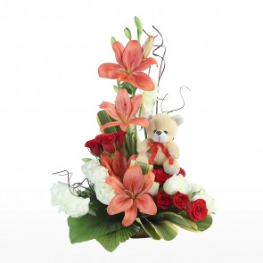 Teddy With Red Roses Arrangement