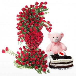 Life Size Arrangement Of 200 Red Roses With Cake And Teddy Bear