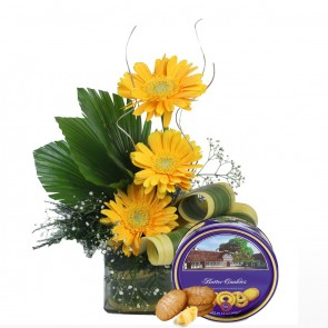 3 Yellow Gerberas in Small Vase With Chocolates