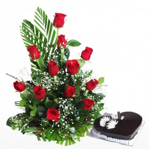 12 Roses Arranged In A Basket With Heart Shape Cake
