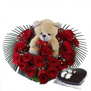 Heart Shape Arrangement Of 25 Red Roses And Cake