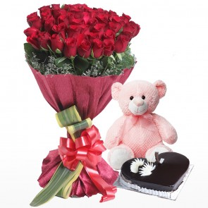 Bouquet Of 50 Red Roses With Cake And Teddy Bear