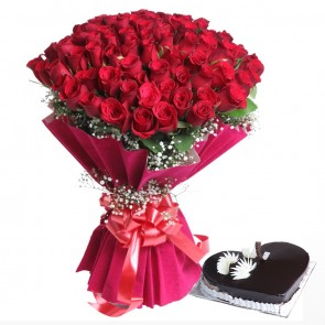 Bouquet Of 75 Red Roses With Heart Shape Cake