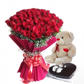 Bouquet Of 75 Red Roses With Cake And Teddy Bear