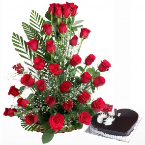 35 Red Roses Premium Basket Arrangement With Heart Shape Cake
