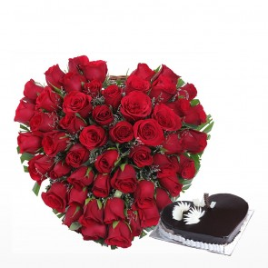 50 Red Roses Heart Shape Arrangement With Heart Shape Cake