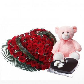 Heart Shape Arrangement Of 100 Red Roses With Cake And Teddy Bear