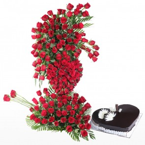 Life Size Arrangement Of 200 Red Roses With Heart Shape Cake